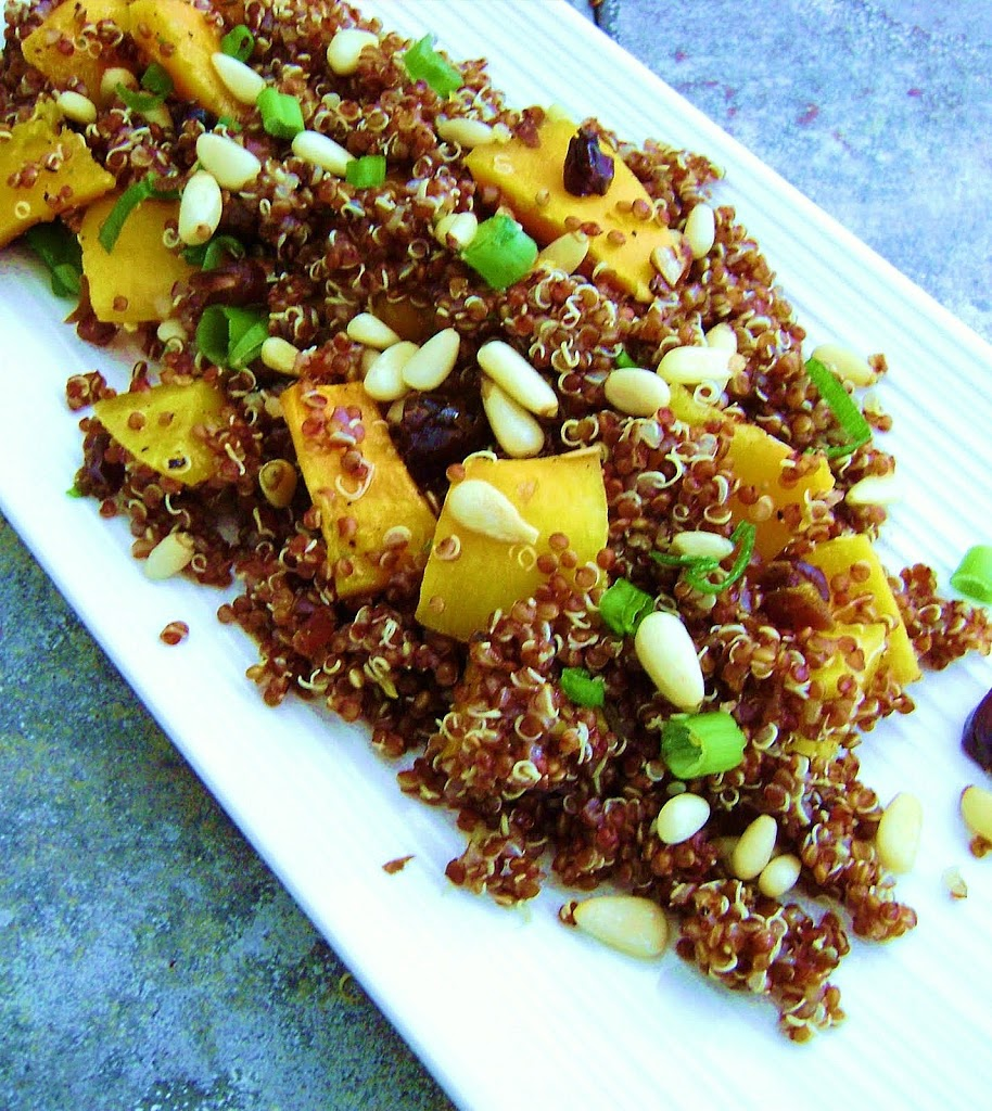 Red Quinoa Salad with Dates, Pine Nuts and roasted Butternut Squash