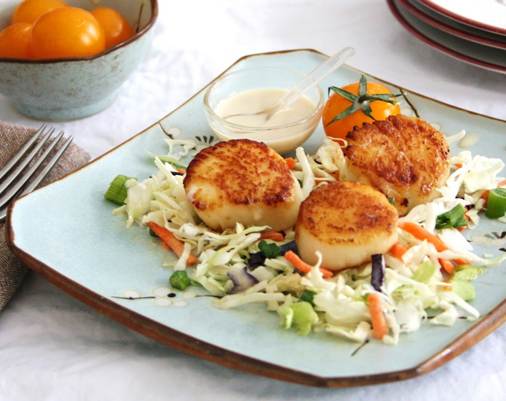 Scallops With Cilantro Sauce And Asian Slaw Recipes — Dishmaps