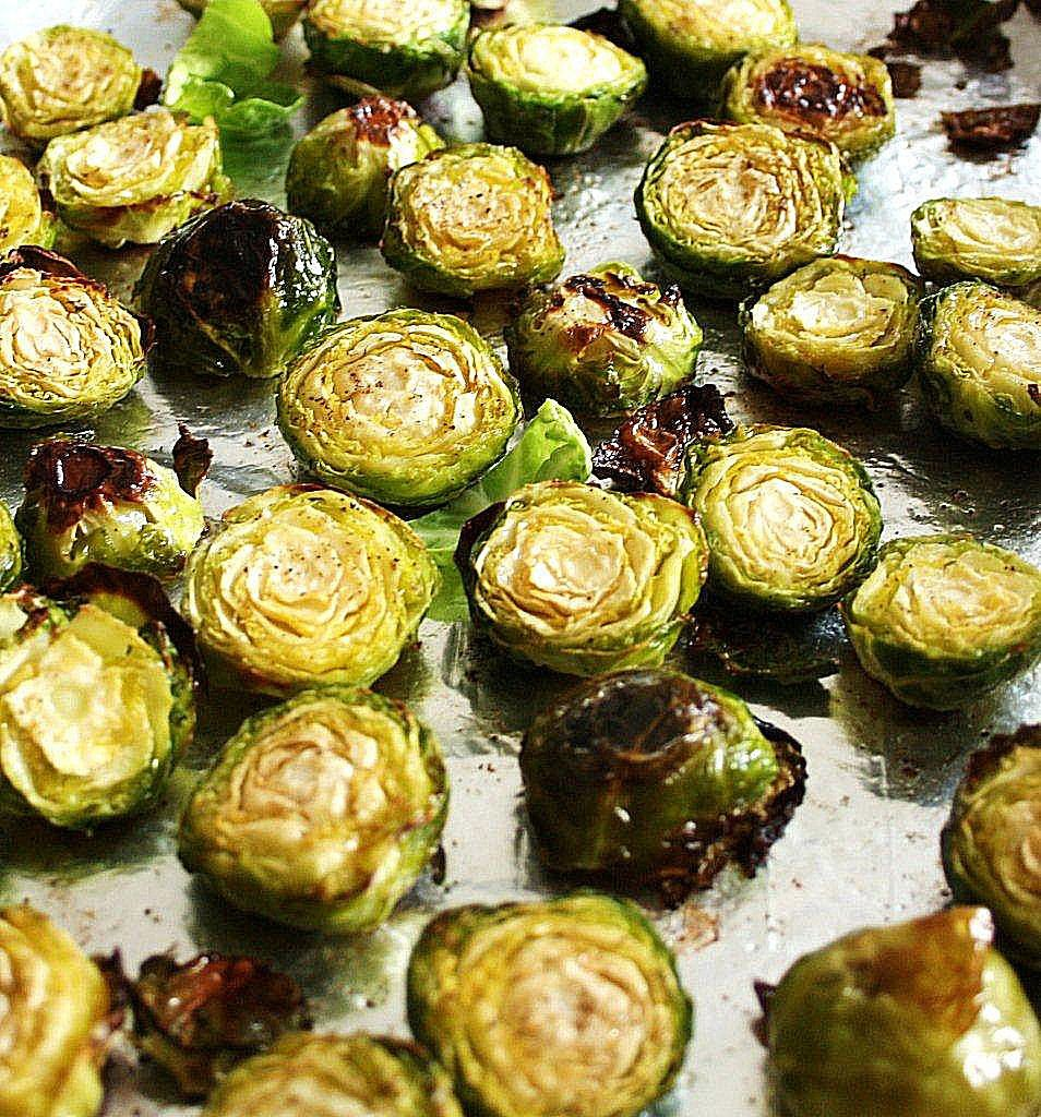 roasted brussels sprouts with pear & gorgonzola