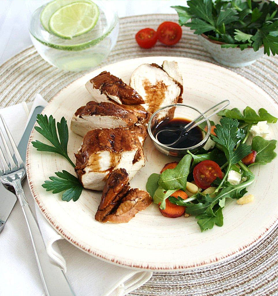 Poached Chicken with Balsamic Vinegar and Bread Crumb Sauce
