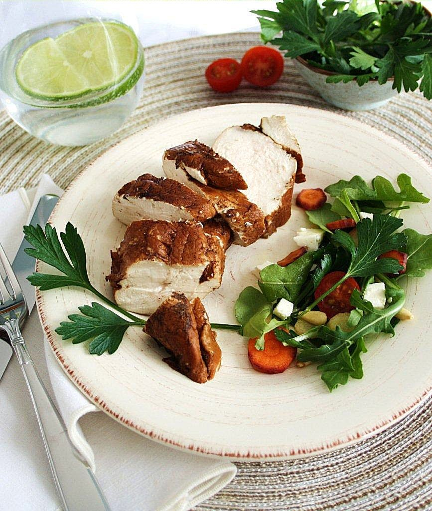 Balsamic poached chicken