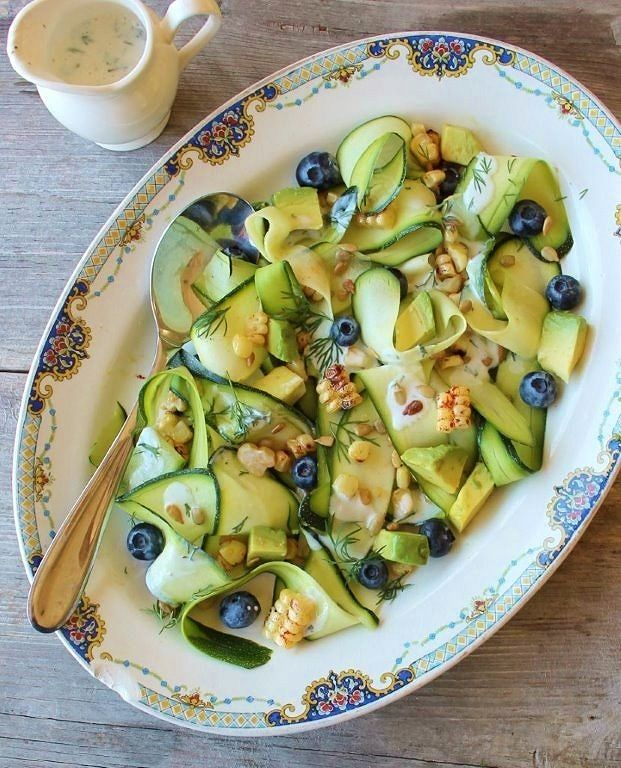 grilled corn & zucchini ribbon salad_blog