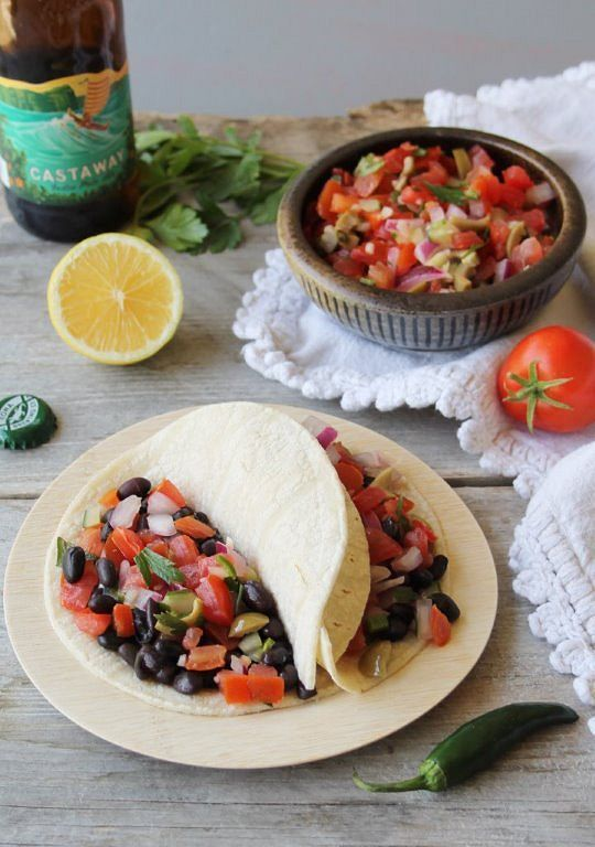 black bean tacos with salsa