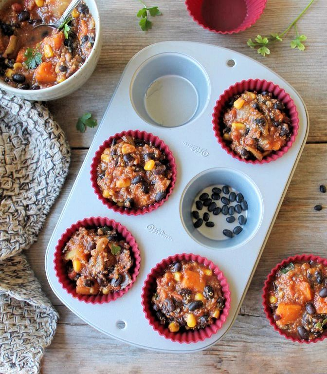 Black Bean & Sweet Potato Chili Cups for Freezing
