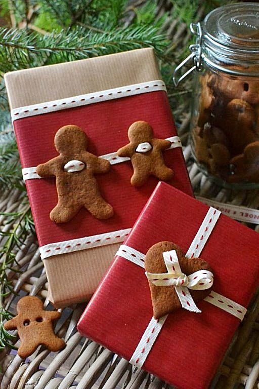 gingerbread decorated gift wrap