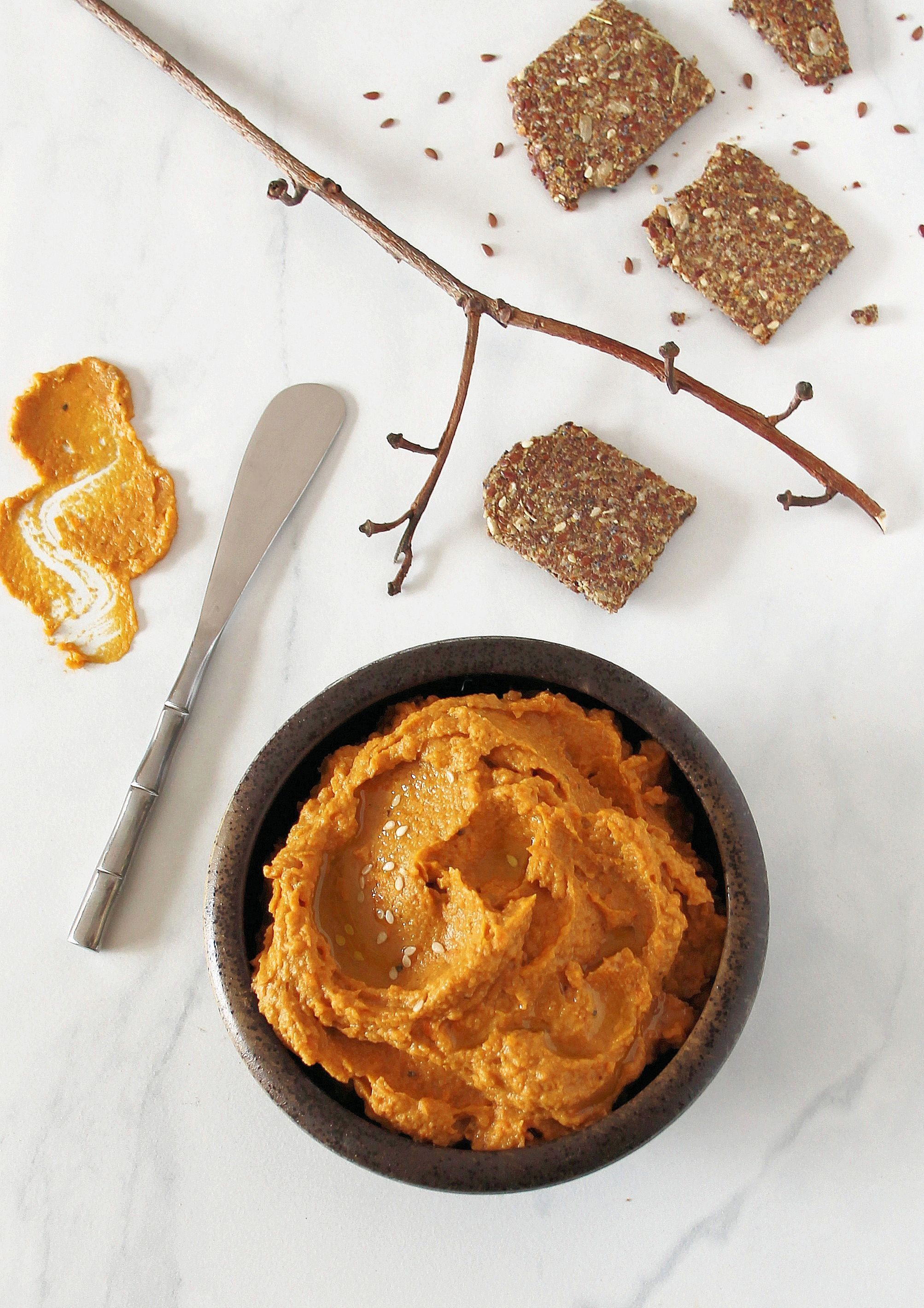 Roasted Sweet Potato & Persimmon Hummus with Almond-Flaxseed Crackers